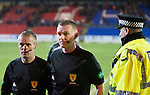 St Johnstone v Hearts.....18.01.14   SPFL<br /> Ref Brian Colvin leaves the pitch at full time<br /> Picture by Graeme Hart.<br /> Copyright Perthshire Picture Agency<br /> Tel: 01738 623350  Mobile: 07990 594431