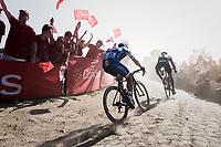 race leaders Greg Van Avermaet (BEL/BMC) &amp; Zdenek Stybar (CZE/Quick Step Floors) at the Carrefour de l'Arbre sector<br /> <br /> 115th Paris-Roubaix 2017 (1.UWT)<br /> One Day Race: Compi&egrave;gne &rsaquo; Roubaix (257km)