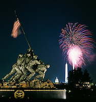 Marine Corps Memorial (Iwo Jima) with fireworks, Capitol and Washington Monument in the background