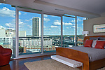 Master bedroom in the Scudder Condo, Vistas on the James, Richmond, VA. Beautiful view of downtown Richmond.