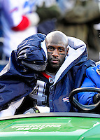 20 December 2009: Buffalo Bills' safety Bryan Scott leaves the field after an injury against the New England Patriots at Ralph Wilson Stadium in Orchard Park, New York. The Patriots defeated the Bills 17-10. Mandatory Credit: Ed Wolfstein Photo