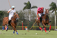 WELLINGTON, FL - MARCH 05: 10 goaler, Polito Pieres of Orchard Hill (Red) controls the ball down the field, while Adolfo Cambiaso looks on as Valiente defeats Orchard Hill 14-11, in the 26 goal CV Whitney Cup Final, at the International Polo Club, Palm Beach on February 26, 2017 in Wellington, Florida. (Photo by Liz Lamont/Eclipse Sportswire/Getty Images)