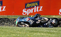 Honda Moto3 rider Callum Barker of Australia crashes during the first practice session of the Australian Motorcycle GP in Phillip Island, Oct 18, 2013. Photo by Daniel Munoz/VIEWpress. IMAGE RESTRICTED TO EDITORIAL USE ONLY