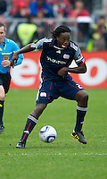 22 May 2010: New England Revolution midfielder Shalrie Joseph #21in action during a game between the New England Revolution and Toronto FC at BMO Field in Toronto..Toronto FC won 1-0.....