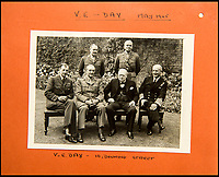 BNPS.co.uk (01202 558833)<br /> Pic: C&amp;T/BNPS<br /> <br /> VE Day 1945 - Churchill and his Generals in the Downing Street back garden.<br /> <br /> A humble secretary's remarkable first hand archive of some of the most momentous events of WW2 has come to light.<br /> <br /> 'Miss Brenda Hart' worked in the Cabinet Office during the last two years of the war, travelling across the globe with the Allied leaders as the conflict drew to a close.<br /> <br /> Her unique collection of photographs and momentoes of Churchill, Stalin and other prominent Second World War figures have been unearthed after more than 70 years.<br /> <br /> The scrapbooks, which also feature Lord Mountbatten and Vyacheslav Molotov, were collated by Brenda Hart who, in her role as secretary to Churchill's chief of staff General Hastings Ismay, enjoyed incredible access to him and other world leaders.<br /> <br /> She also wrote a series of letters which give fascinating insights, including watching Churchill and Stalin shaking hands at the Bolshoi ballet in 1944, being behind Churchill as he walked out on to the balcony at the Ministry of Health to to wave to some 50,000 Londoners on VE day and even visiting Hitler's bombed out Reich Chancellery at the end of the war.<br /> <br /> This unique first hand account, captured in a collection of photos, passes, documents and letters are being sold at C&amp;T auctioneers on15th March with a &pound;1200 estimate.