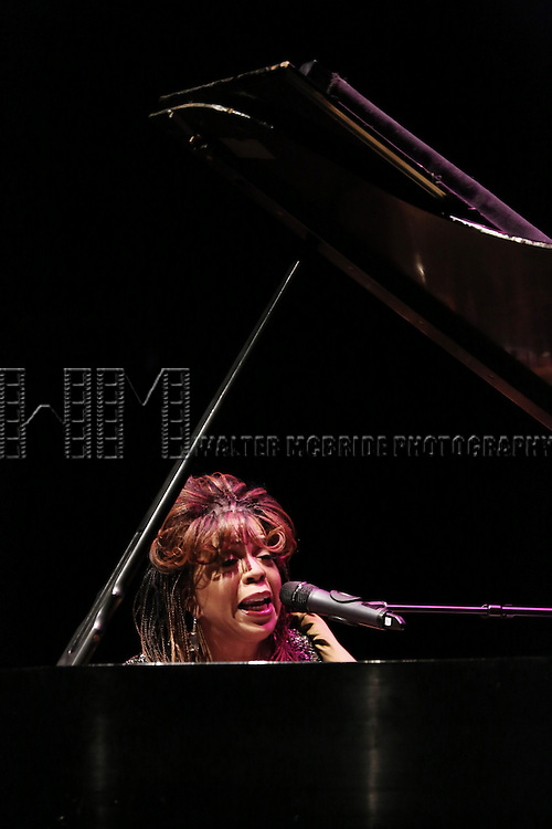Valerie Simpson performs at Woodie King Jr.'s New Federal Theatre 44th Anniversary Gala honoring Voza Rivers at BMCC Tribeca Performing Arts Center on March 16, 2014 in New York City.