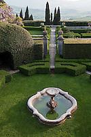 View of the formal garden at La Foce from Iris Origo's bedroom window