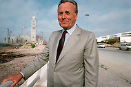 March 4, 1989, Casablanca, Morocco. Michel Pinseau, the architect of Hassan II Mosque. The mosque was completed in 1993.  He died in 1999.