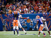 Florida defensive back Josh Evans tries to intercept the ball during 79th Sugar Bowl game against Louisville at Mercedes-Benz Superdome in New Orleans, Louisiana on January 2nd, 2013.   Louisville Cardinals defeated Florida Gators, 33-23.