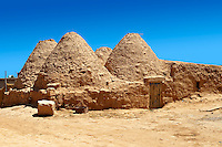 "Pictures of the beehive adobe buildings of Harran, south west Anatolia, Turkey.  Harran was a major ancient city in Upper Mesopotamia whose site is near the modern village of Altınbaşak, Turkey, 24 miles (44 kilometers) southeast of Şanlıurfa. The location is in a district of Şanlıurfa Province that is also named ""Harran"". Harran is famous for its traditional 'beehive' adobe houses, constructed entirely without wood. The design of these makes them cool inside. 43"