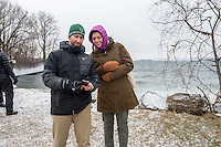 20150109 Burlington Parks/ Rec Director Jesse Bridges tours Urban Reserve with student Margot Halpin