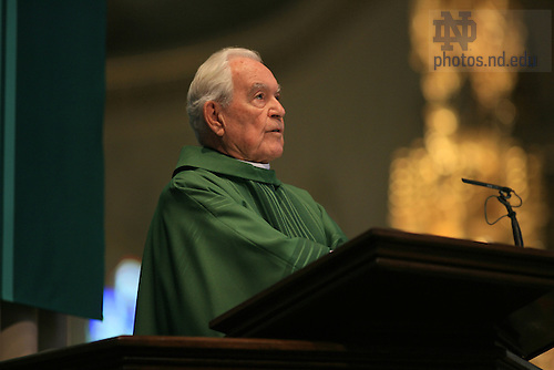 Fr. Hesburgh gives the homily at a Basilica Mass celebrating the 20th anniversary of the Kroc Institute.....Photo by Matt Cashore