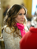 Sarah Jessica Parker arrives for the presentation of the 2011 National Medal of Arts and 2011 National Humanities Medal by United States President Barack Obama in the East Room of the White House in Washington, D.C. on Monday, February 13, 2012..Credit: Ron Sachs / Pool via CNP