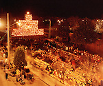 Crowds celebarate new World's Record for Lit Jack o Lanterns at Keene Pumpkin Festival.