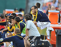 Landon Donovan (10) of the Los Angeles Galaxy watching the game during the second half.  D.C. United tied the Los Angeles Galaxy 2-2, at RFK Stadium, Saturday September 14 , 2013.