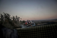 Syrian civilians flee from army shelling in the north province of Idlib. Thousands of civilians have left their villages in Idlib and Aleppo provinces to cross into Turkey after the opposition fighters take control of the north provinces of Syria while the Syrian army is shelling the rebel positions inside the villages.