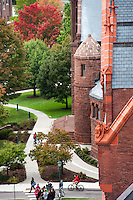 View of Williams Hall and Billings Library, Fall UVM Campus