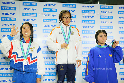 (L to R) <br /> Maia Nishimura, <br /> Inoha Yamakawa, <br /> Misaki Goto, <br /> MARCH 29, 2015 - Swimming : <br /> The 37th JOC Junior Olympic Cup <br /> Women's 200m Butterfly <br /> 13-14 years old award ceremony <br /> at Tatsumi International Swimming Pool, Tokyo, Japan. <br /> (Photo by YUTAKA/AFLO SPORT)
