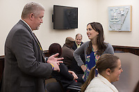 N.C. Department of Public Safety Public Information Officer Jerry Higgins talks with Scarlet Neath of the Vera Institute of Justice before a tour of Central Prison in Raleigh, NC on Thursday, November 17, 2016. (Justin Cook)