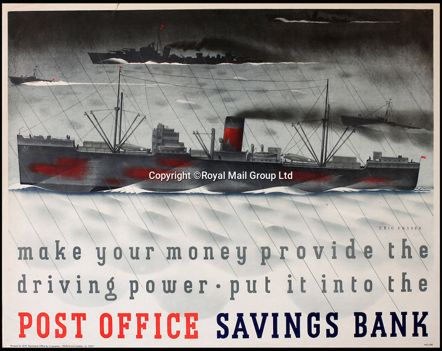 BNPS.co.uk (01202 558833)<br /> Pic: RoyalMailGroup/BNPS<br /> <br /> Eric Fraser (1902-1983) Maker your money provide the driving power. Post Office Savings Bank.<br /> <br /> A one-of-a-kind sale of rare vintage posters could net the Post Office &pound;40,000 to put towards the building of a new museum dedicated to the service.<br /> <br /> In a bid to raise funds for the new British Postal Museum, curators sifted through the Royal Mail archives to find duplicates of advertising posters dating back to the 1930s that they could sell at auction.<br /> <br /> The resulting collection of more than 150 original posters are now going under the hammer at Onslows Auctions in Blandford, Dorset, in a sale the likes of which has never been held before.<br /> <br /> The proceeds will go towards the building of the new museum in Camden, London, which will feature part of the old Post Office Underground Railway - the Mail Rail - as a heritage attraction.