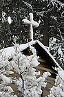 Log Chapel Cross with snow