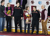 Tom Pratt, Linda Pratt, Kevin Pratt (BC - Student Manager), Joe Macri (BC - Student Manager) and parents - The visiting University of Notre Dame Fighting Irish defeated the Boston College Eagles 2-1 in overtime on Saturday, March 1, 2014, at Kelley Rink in Conte Forum in Chestnut Hill, Massachusetts.