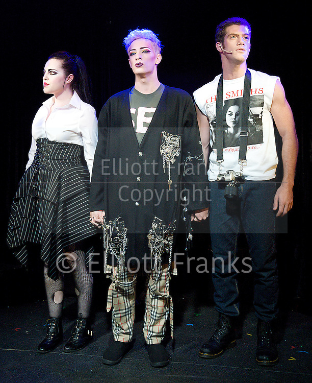 Taboo<br /> by Boy George<br /> directed by Christopher Renshaw<br /> at The Brixton Club House, Brixton, London, Great Britain <br /> Press photocall<br /> 11th September 2012 <br /> <br /> Paul Baker as Philip Salon <br /> Alistair Brammer as Billy <br /> Sarah Ingram as Josie<br /> Michael Matus as Derek <br /> Niamh Perry as Kim <br /> Matthew Roland as Boy George<br /> Owain Williams as Steve Strange<br /> Daniella as Bowen Janey <br /> Adam Bailey as Marilyn <br /> Sam Buttery as Leigh Bowery <br /> Katie Kerr as Big Sue<br /> <br />  <br /> <br /> <br /> Photograph by Elliott Franks