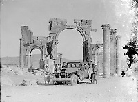 The Triumphal Arch of Palmyra in Palmyra, Syria is seen in this archival photograph taken circa 1929. The arch, which stood for 2000 years in Palmyra, Syria, was destroyed by Isis in 2015.  (Library of Congress)