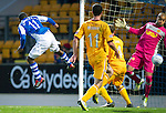 St Johnstone v Motherwell...03.11.12      SPL.Darren Randolph saves Nigel Hasselabinks header.Picture by Graeme Hart..Copyright Perthshire Picture Agency.Tel: 01738 623350  Mobile: 07990 594431