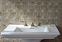 Calla, a natural stone waterjet mosaic shown in Jura Grey honed, is part of the Miraflores Collection by Paul Schatz for New Ravenna Mosaics.