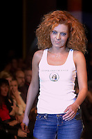 Hungarian celebrity Cinthia presents collections by Pussy Deluxe and Vive Maria during the opening underwear fashion show of the new event hall called Show-Room in Budapest, Hungary on October 26, 2007. ATTILA VOLGYI