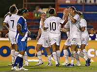 USA team celebrates a goal at the 2010 CONCACAF Women's World Cup Qualifying tournament held at Estadio Quintana Roo in Cancun, Mexico.