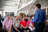 Republican presidential hopeful Tim Pawlenty campaigns on Tuesday, July 26, 2011 in Ottumwa, IA.