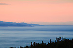 Pastel colors of sunset over Flathead Lake in western Montana