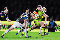 Greg Bateman of Leicester Tigers goes on the attack. Aviva Premiership match, between Harlequins and Leicester Tigers on February 24, 2017 at the Twickenham Stoop in London, England. Photo by: Patrick Khachfe / JMP