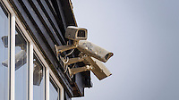 CCTV Cameras on a Building, Camber Sands, Camber, East Sussex, Britain - Apr 2014.