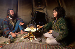 Hippy couple living in a Tee Pee in Wales at Llandeilo Wales 1980s UK. So called Tee Pee Valley.<br />