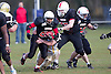 Bournemouth Bobcats (black jersey) vs Cornish Pirates (white jersey) - British American Football Association National League South West Division Two at Chapel Gate, Christchurch - 21/04/12 - MANDATORY CREDIT: Chris Royle/CRPHOTOS.CO.UK