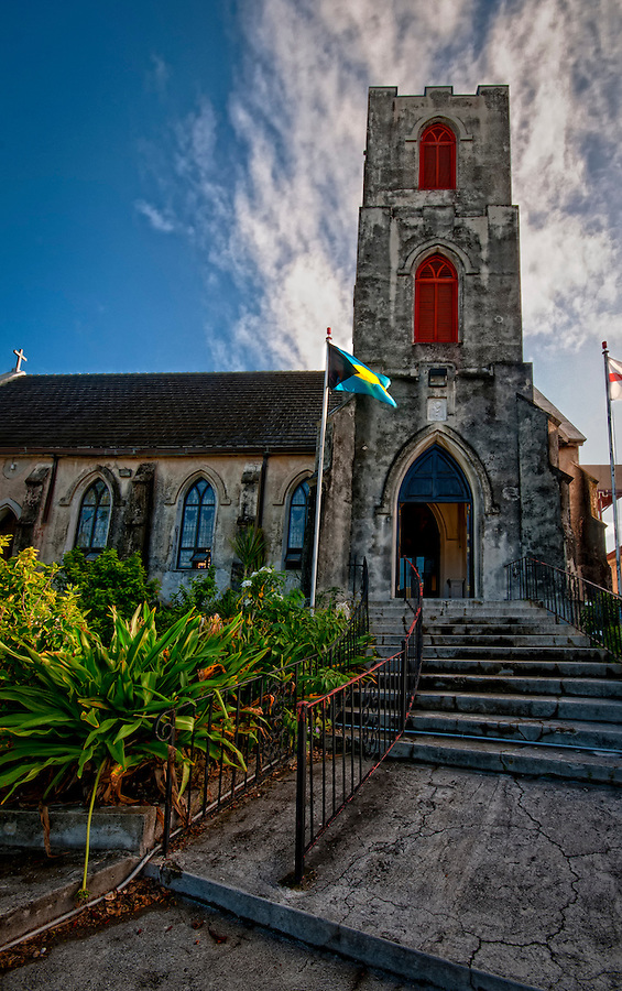 View of the Outside of historic St. Mary the Virgin Anglican Church. This church, said to be the oldest church in The Bahamas, is thought to have been built by the Spanish in the 1600's.
