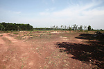 Land that has been cleared by de-mining teams waits for cultivation or development in Quang Tri province, Vietnam. Quang Tri, which borders the former Demilitarized Zone that once divided North and South Vietnam, was the most heavily bombed province during the Vietnam War. According to experts of Project RENEW, one of three organizations funding the removal of unexploded ordnance in the area, more than 7,000 people in Quang Tri have been killed or maimed by bombs and land mines since the war ended in 1975. April 23, 2013.