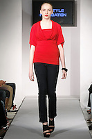 Model walks runway in an outfit from the SMARTER Clothing Fall 2012 collection, by Trudy Miller during BK Fashion Weekend Fall Winter 2012.