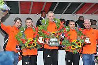 KAATSEN: WOMMELS: 07-08-2013, Freule Kaatspartij, Winnaar Dronryp VvV Sjirk de Wal, Sybren Blanksma, Wierd Baarda, Sander Kingma, ©foto Martin de Jong