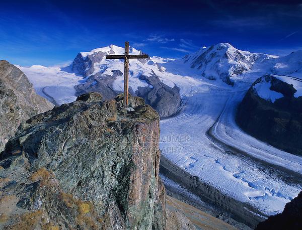Cross and Monte rosa massif with Gorner glacier, Gornergrat, Zermatt, Swiss Alps, Switzerland, Europe