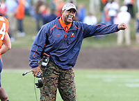Nov 13, 2010; Charlottesville, VA, USA;  Virginia head coach Mike London reacts to a call during the 1st half of the game against the Maryland Terrapins at Scott Stadium.  Mandatory Credit: Andrew Shurtleff-