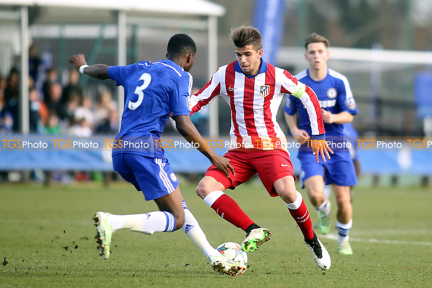 Andres Mohedano of Athletico Madrid takes on Chelsea's Fikayo Tomori - Chelsea Under-19 vs Athletico Madrid Under-19 - UEFA Under-19 Champions League Quarter-Final Football at Cobham Training Ground, Surrey - 10/03/15 - MANDATORY CREDIT: Paul Dennis/TGSPHOTO - Self billing applies where appropriate - contact@tgsphoto.co.uk - NO UNPAID USE