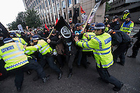 EDL East London march 7-9-13 The racist, far right English Defence League attempt to march into Tower hamlets in East London. Thousands of local people and anti fascists mobilise against them causung the police to march them from Tower bridge into the City of London and back avoiding Tower Hamlets. Militant antifascists scuffled with police near the EDL march.