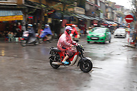 Scooters and motorcycles in Hanoi, January 2016.