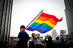 Gay marriage supporters wait for a federal court ruling on California's Proposition 8 at the federal building in San Francisco, California,  August 4, 2010..CREDIT: Max Whittaker for The Wall Street Journal.PROP8