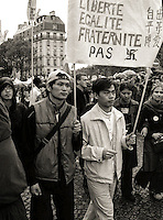 21 April 2002 Demonstrators in Paris after the results of the first round for the presidency.