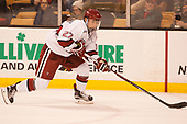 Viktor Dombrovskiy (Harvard - 27) - The Harvard University Crimson defeated the Northeastern University Huskies 4-3 in the opening game of the 2017 Beanpot on Monday, February 6, 2017, at TD Garden in Boston, Massachusetts.